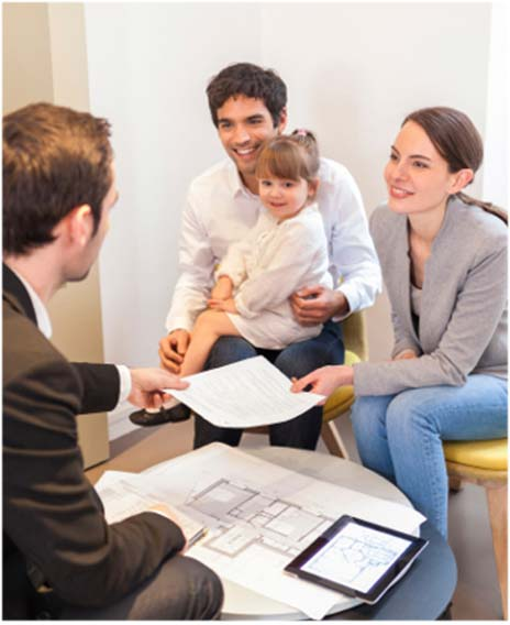 young family discussing property litigation with property valuations expert
